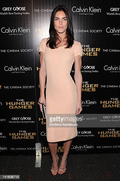 Model Hilary Rhoda attends the Cinema Society Calvin Klein Collection screening of 'The Hunger Games' at SVA Theatre on March 20 2012 in New York City