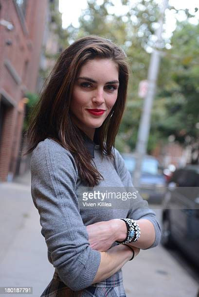 Model Hilary Rhoda is seen outside the Dannijo presentation during MercedesBenz Fashion Week Spring 2014 at Industria Studios on September 9 2013 in...