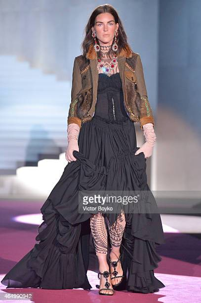 Model Hilary Rhoda walks the runway at the Dsquared2 show during the Milan Fashion Week Autumn/Winter 2015 on March 2 2015 in Milan Italy