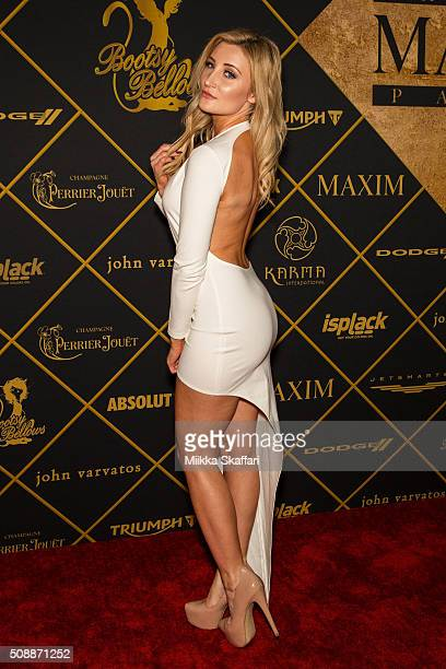 Model Holly Wolf arrives at Maxim Magazine And Bootsy Bellows Super Bowl Party 2016 at Treasure Island on February 6 2016 in San Francisco California
