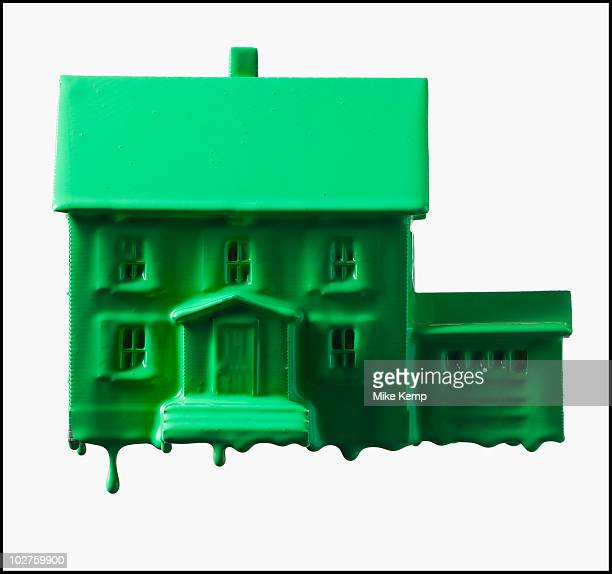 Model home covered in green paint
