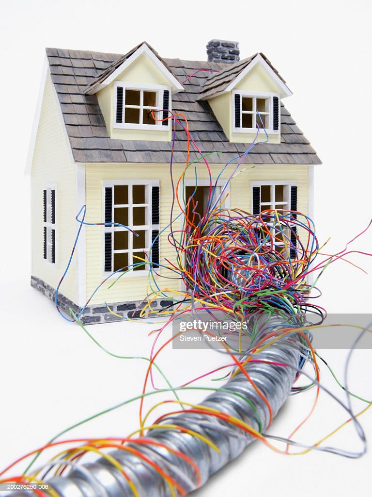 Model Home With Electrical Wires Running Through Front Door Stock Wiring At Photo