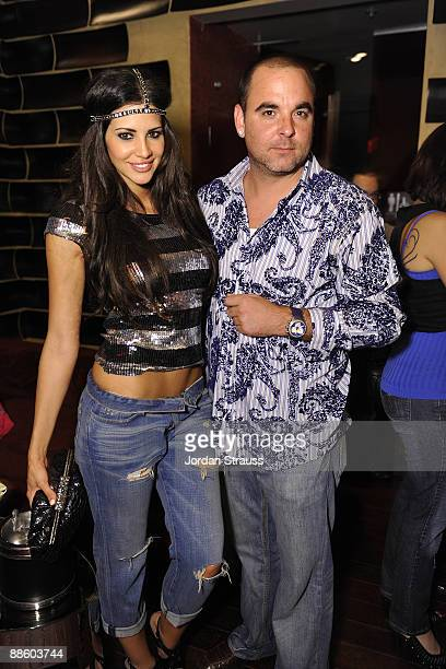 Model Hope Dworaczyk and Matt Cohen attend the Official OnlineBootyCall Million Dollar Sweepstakes Party at Opera Crimson on June 20 2009 in Los...