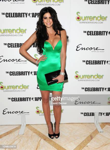 Model Hope Dworaczyk arrives to celebrate the season premiere of 'The Celebrity Apprentice' at Surrender Nightclub at Encore Las Vegas on March 5...