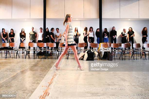 Model hopeful parades down the catwalk during the David Jones Spring Summer 18 Collections Launch Model Castings on July 10, 2018 in Melbourne,...
