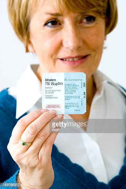 Model Hormone Replacement Therapy Hrt Transdermal Patch Containing Oestradiol Estrogen