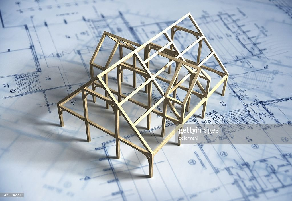 Model House and Blueprint : Stock Photo