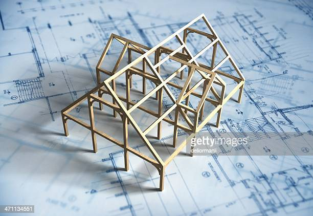 model house and blueprint - architect stockfoto's en -beelden