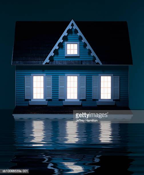 Model house floating in water, close-up