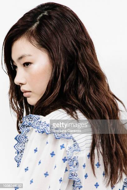 Model Hoyeon Jung hair detail is seen backstage ahead of the Philosophy Di Lorenzo Serafini show during Milan Fashion Week Spring/Summer 2019 on...