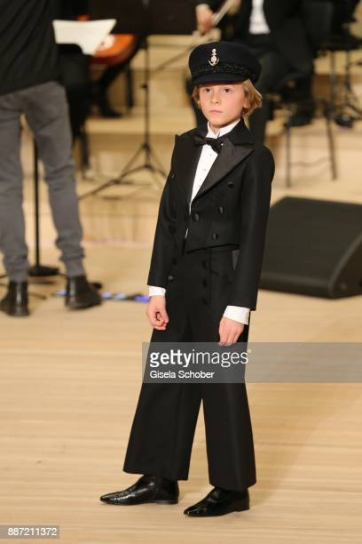 Model Hudson Kroenig godson of Karl Lagerfeld during the Chanel Trombinoscope collection Metiers d'Art 2017/18 show at Elbphilharmonie on December 6...
