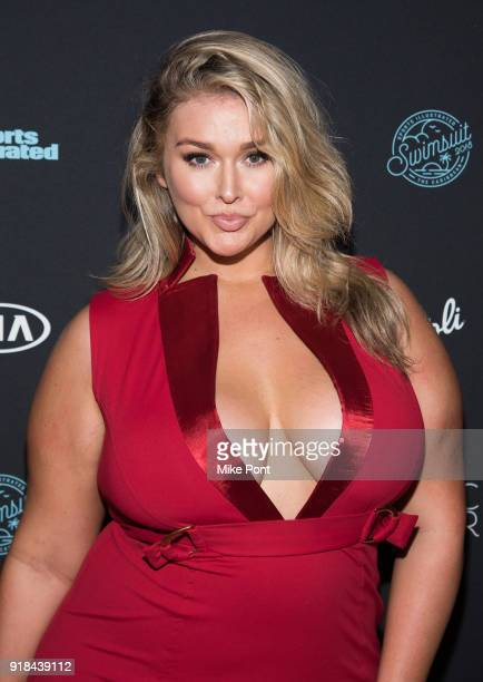 Model Hunter McGrady attends the 2018 Sports Illustrated Swimsuit Issue Launch Celebration at Magic Hour at Moxy Times Square on February 14 2018 in...