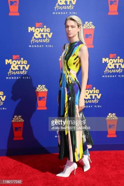 Model Hunter Schafer arrives for the 2019 MTV Movie & TV Awards at the Barker Hangar in Santa Monica on June 15, 2019. - The 2019 MTV Movie & TV...