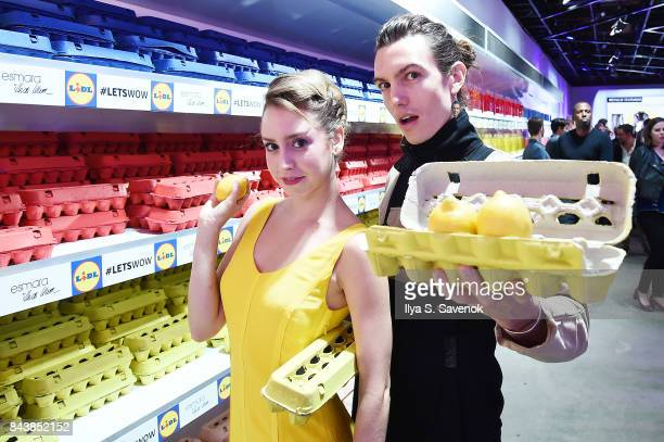 Model Ian Mellencamp poses in the grocery store inspired presentation space during the Esmara By Heidi Klum Lidl Fashion Presentation at New York...