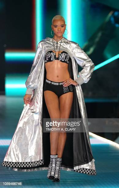 US model Iesha Hodges walks the runway at the 2018 Victoria's Secret Fashion Show on November 8 2018 at Pier 94 in New York City Every year the...