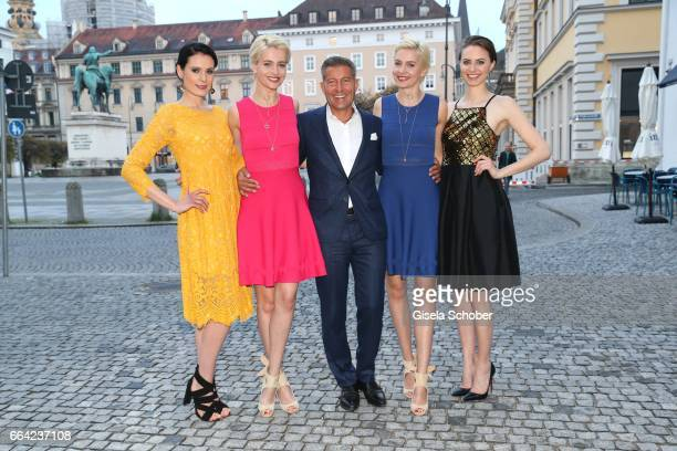 Model Iga Nina Meise Jeweler Thomas Jirgens Juwelenschmiede Julia Meise and model during the 'Juwelenschmiede and Joana Danciu Fashion spring dinner'...