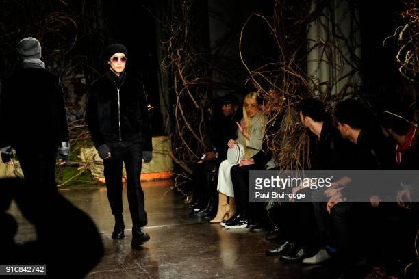 Model Iggy Azalea Kevin Jonas Joe Jonas and Nick Jonas attend the John Varvatos Fall/Winter 2018 Show Runway at The Angel Orensanz Foundation on...