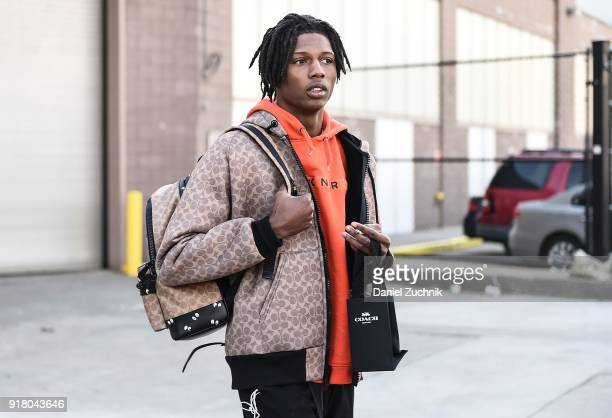 Model Ill Traz is seen outside the Coach show during New York Fashion Week: Women's A/W 2018 on February 13, 2018 in New York City.
