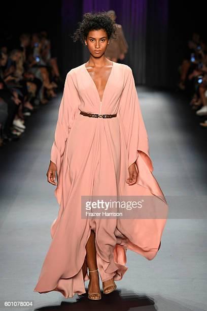 Model Imaan Hammam walks the runway at the Oday Shakar fashion show during New York Fashion Week The Shows at The Dock Skylight at Moynihan Station...