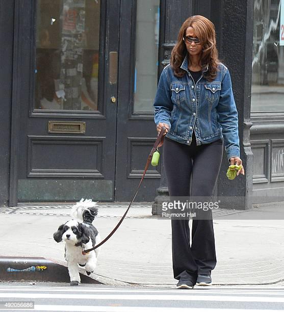 Model Iman Abdulmajid is seen walking her dog in Soho on October 9 2015 in New York City