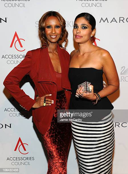Model Iman and Brand Launch of the Year winner Rachel Roy attend the 14th Annual ACE Awards presented by the Accessories Council at Cipriani 42nd...