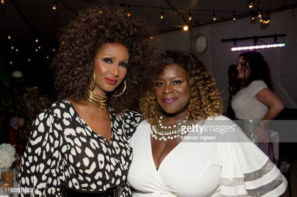 Model Iman and comedian Retta attend The Jane Club private dinner at Melrose Mansion on July 06 2019 in New Orleans Louisiana