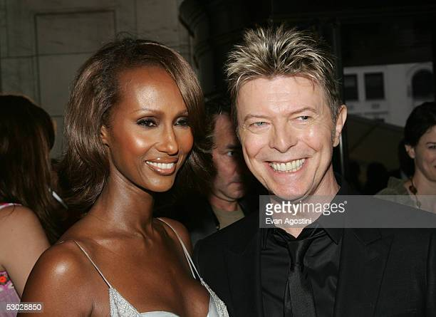 Model Iman and her husband David Bowie attend the 2005 CFDA Awards at the New York Public Library June 6 2005 in New York City
