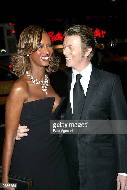 Model Iman and husband musician David Bowie attend the amFAR Benefit Honors Gala at Cipriani 42nd Street on February 3 2003 in New York City