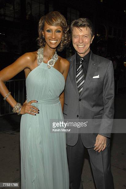 Model Iman and Musician David Bowie arrive at Conde Nast Media Group's 4th Annual 'Black Ball' Concert for 'Keep A Child Alive' at Hammerstein...