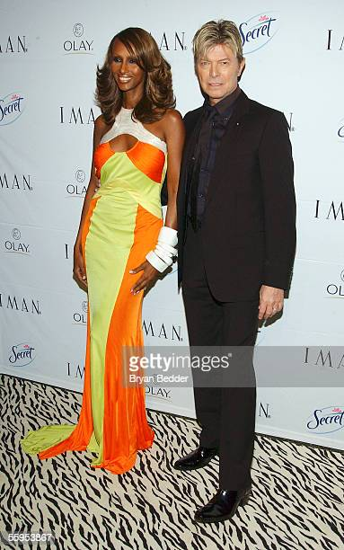 Model Iman and musician David Bowie arrive at the party for Iman's new book 'The Beauty of Color' hosted by Naomi Campbell October 18 2005 in New...