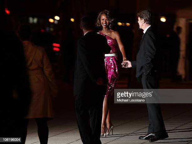 Model Iman and musician David Bowie attend the 7th Annual Tribeca Film Festival Vanity Fair Party at the State Supreme Courthouse on April 22 2008 in...