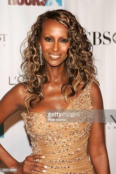 Model Iman arrives at Fashion Rocks at Radio City Music Hall September 8 2005 in New York City