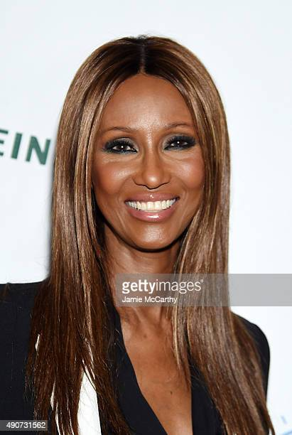 Model Iman at the Frederique's Choice US Launch Party at Gallow Green at The McKittrick Hotel on September 29 2015 in New York City