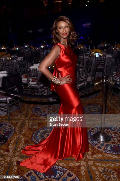Model Iman attends as Moet Chandon Toasts to the amfAR New York Gala At Cipriani Wall Street at Cipriani Wall Street on February 8 2017 in New York...