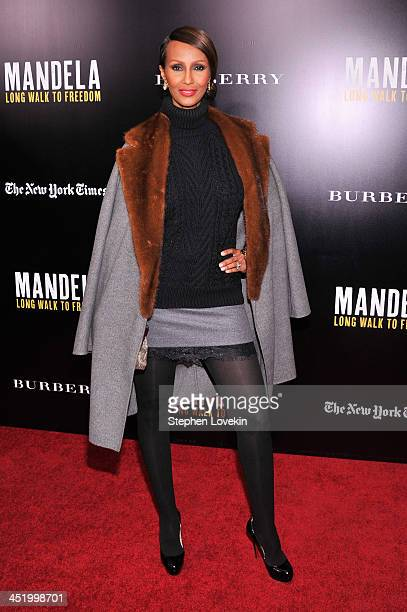 """Model Iman attends """"Mandela: Long Walk To Freedom"""" screening hosted by U2, Anna Wintour, Bob and Harvey Weinstein with Burberry at Ziegfeld Theater..."""