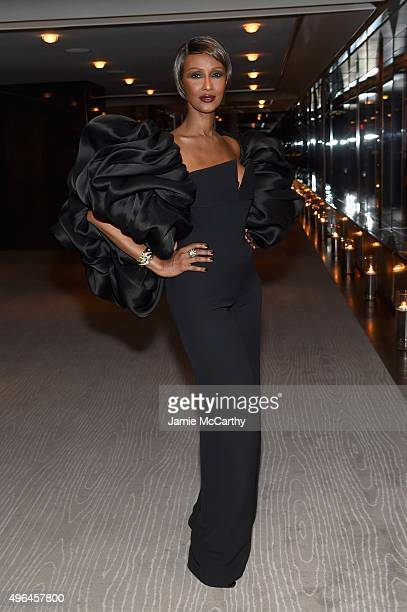 Model Iman attends the 2015 Glamour Women of The Year Awards dinner hosted by Cindi Leive at The Rainbow Room on November 9 2015 in New York City