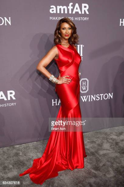 Model Iman attends the amfAR New York Gala, where Harry Winston is a Presenting Sponsor, at Cipriani Wall Street on February 8, 2017 in New York City.