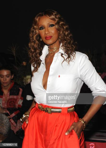 Model Iman attends the Brandon Maxwell fashion show during New York Fashion Week at Classic Car Club on September 8 2018 in New York City