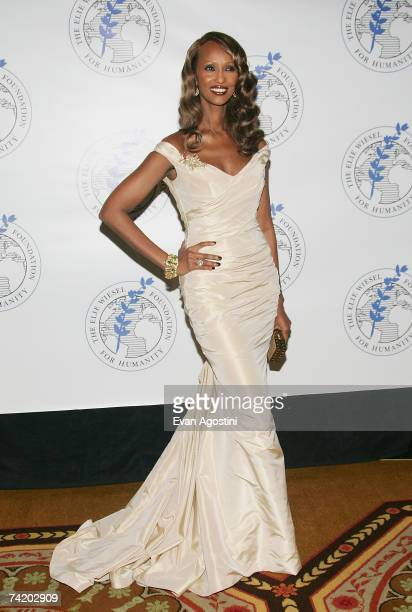 Model Iman attends The Elie Wiesel Foundation for Humanity Award Dinner at the WaldorfAstoria May 20 2007 in New York City