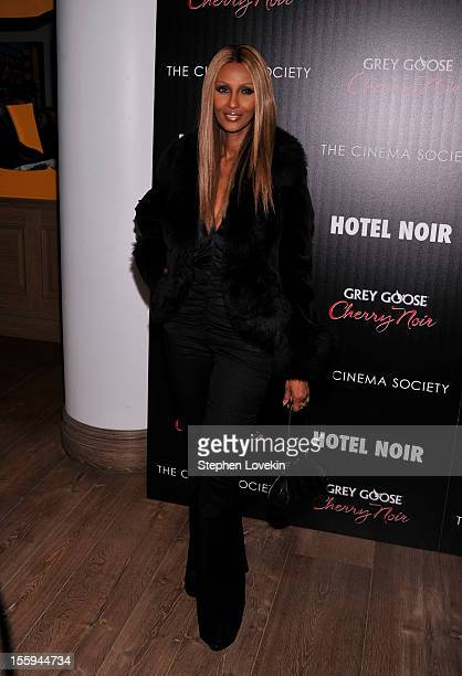 Model Iman attends the Gato Negro Films And The Cinema Society Host A Screening Of Hotel Noir at Crosby Street Hotel on November 9 2012 in New York...