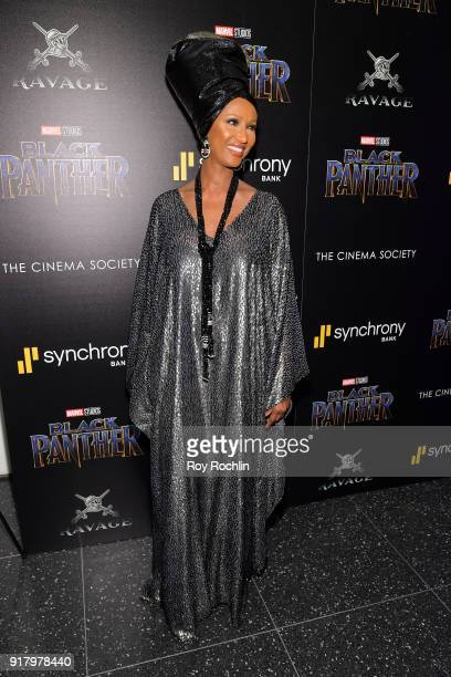 Model Iman attends the screening of Marvel Studios' 'Black Panther' hosted by The Cinema Society on February 13 2018 in New York City