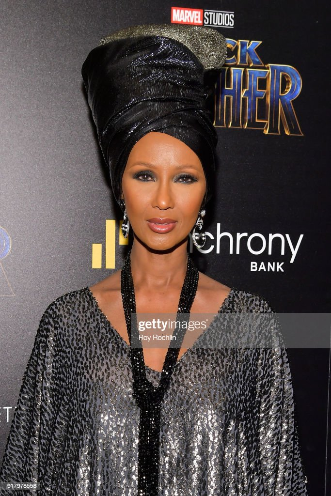 Model Iman attends the screening of Marvel Studios' 'Black Panther' hosted by The Cinema Society on February 13, 2018 in New York City.