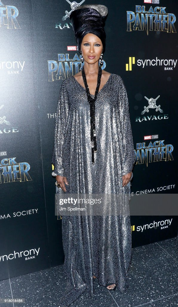 Model Iman attends the screening of Marvel Studios' 'Black Panther' hosted by The Cinema Society with Ravage Wines and Synchrony at Museum of Modern Art on February 13, 2018 in New York City.