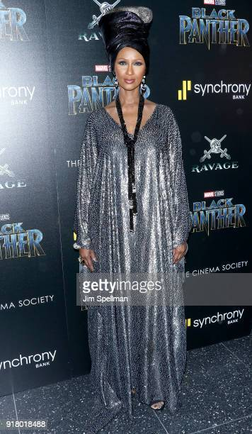 Model Iman attends the screening of Marvel Studios' 'Black Panther' hosted by The Cinema Society with Ravage Wines and Synchrony at Museum of Modern...