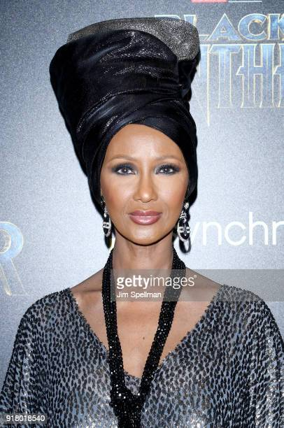 Model Iman attends the screening of Marvel Studios' Black Panther hosted by The Cinema Society with Ravage Wines and Synchrony at Museum of Modern...