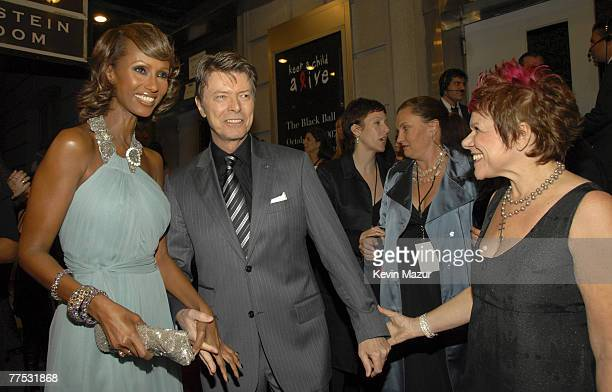 Model Iman Musician David Bowie and Leigh Blake President of Keep A Child Alive arrive at Conde Nast Media Group's 4th Annual Black Ball Concert for...
