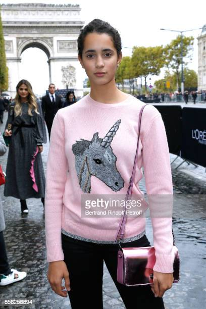 Model Iman Perez attends 'Le Defile L'Oreal Paris show' as part of the Paris Fashion Week Womenswear Spring/Summer 2018 on October 1 2017 in Paris...