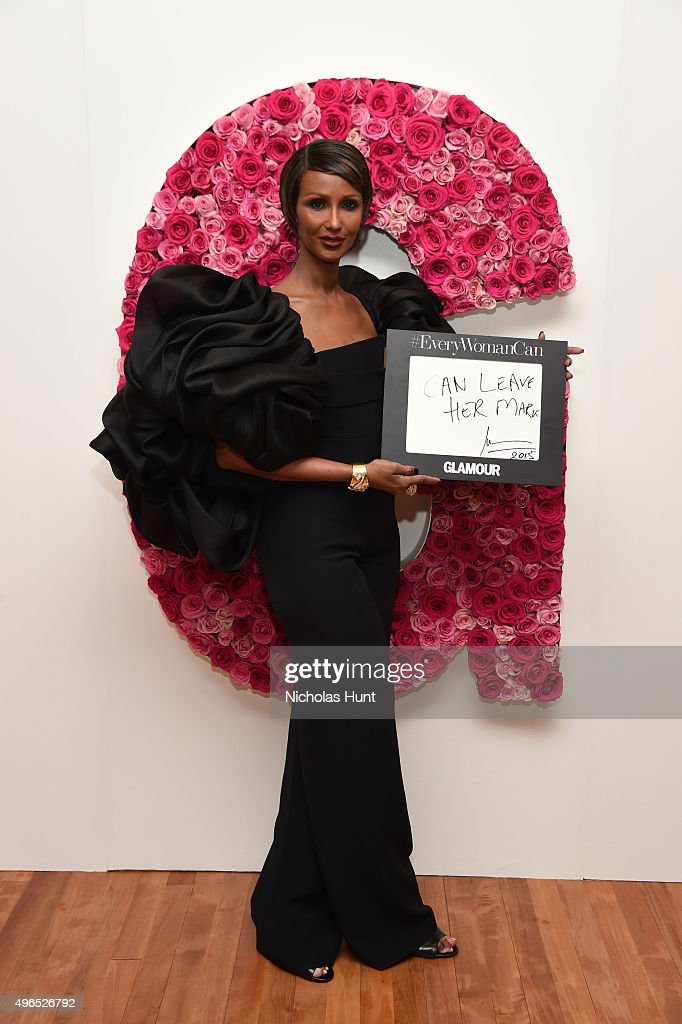 Model Iman poses for a photo at the backstage inspiration wall at the 2015 Glamour Women of the Year Awards at Carnegie Hall on November 9, 2015 in New York City.
