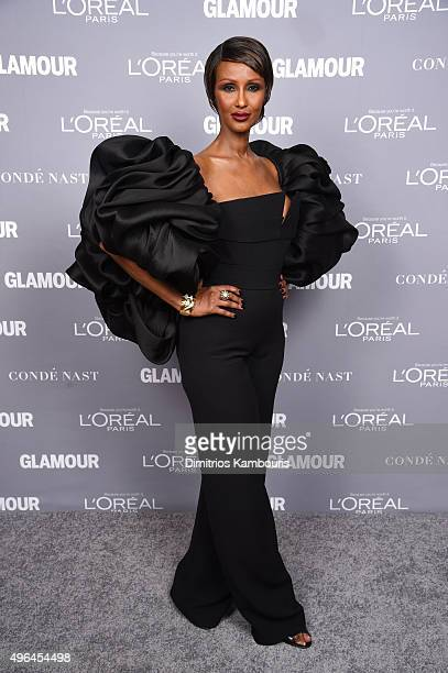 Model Iman poses for a photo backstage at the 2015 Glamour Women Of The Year Awards at Carnegie Hall on November 9 2015 in New York City
