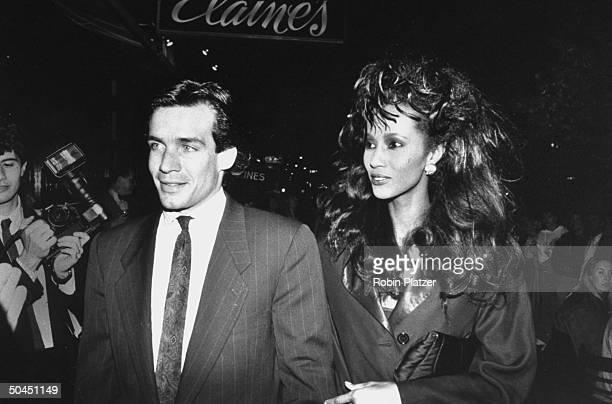 Model Iman w date Will Regan at 25th anniversary of Elaine's